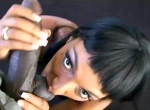 Dark-haired ebony super-bitch Loona..