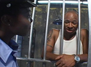Ebony dame cop tempts crazy prisoner..