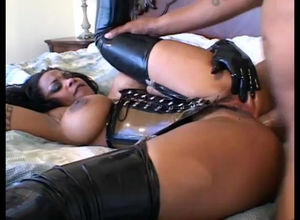 Giant  black diva in spandex gets..